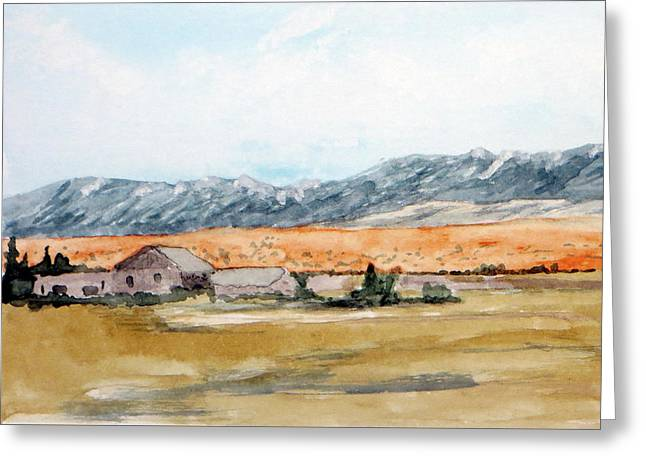 Buildings On A Colorado Ranch With Mountain Landscape Greeting Card by R Kyllo