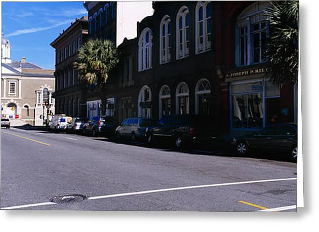 Buildings On Both Sides Of A Road Greeting Card by Panoramic Images
