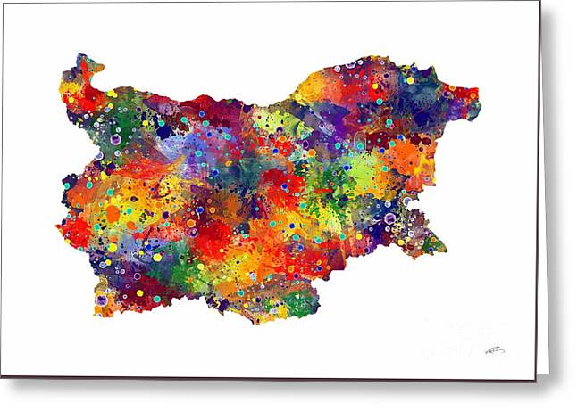 Bulgaria Map 2 Watercolor Print  Greeting Card by Svetla Tancheva