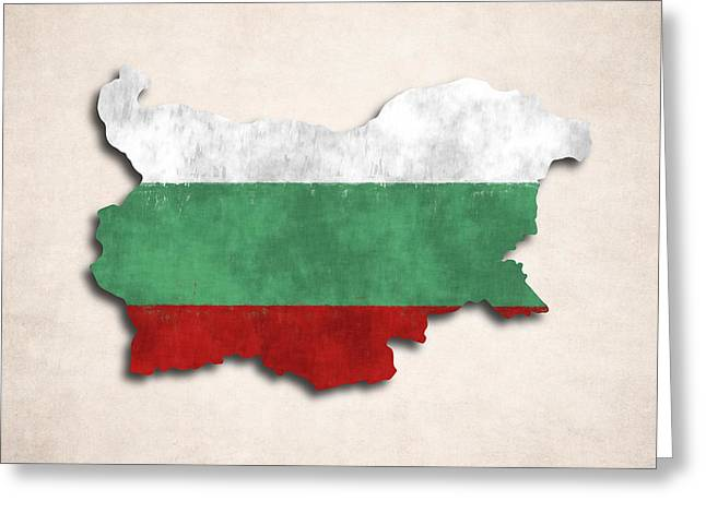 Bulgaria Map Art With Flag Design Greeting Card by World Art Prints And Designs