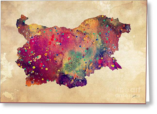 Bulgaria Map Watercolor Print  Greeting Card by Svetla Tancheva