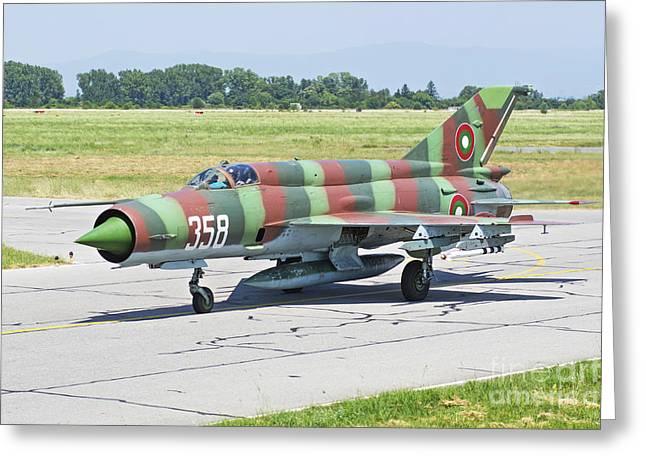 Bulgarian Air Force Mig-21 Taxiing Greeting Card by Daniele Faccioli