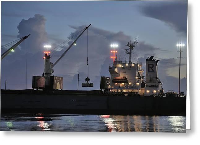 Bulk Cargo Carrier Loading At Dusk Greeting Card