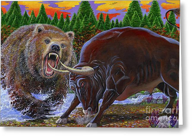 Bull And Bear Greeting Card by Carey Chen