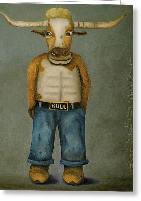 Greeting Card featuring the painting Bull Denim by Leah Saulnier The Painting Maniac