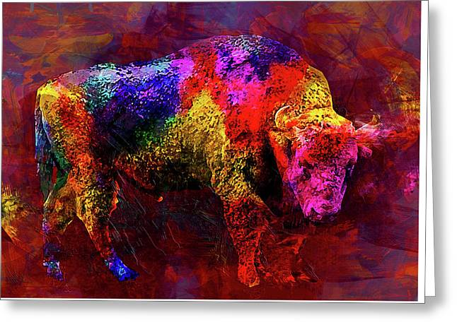 Bull Greeting Card by Elena Kosvincheva