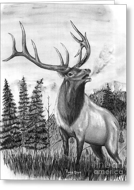 Bull Elk Issuing Challenge Greeting Card by Russ  Smith