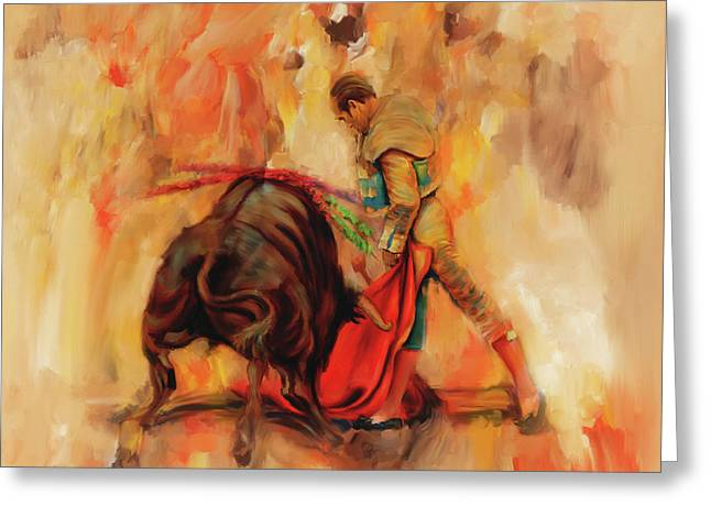 Bull Fight Hb56 Greeting Card