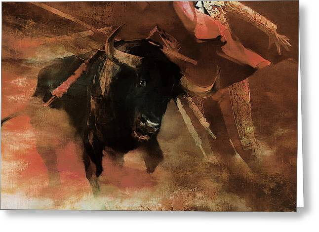 Bull Fight Hjyu Greeting Card by Gull G