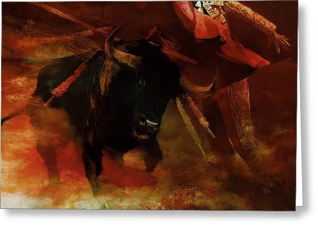 Bull Fightiing 67u Greeting Card
