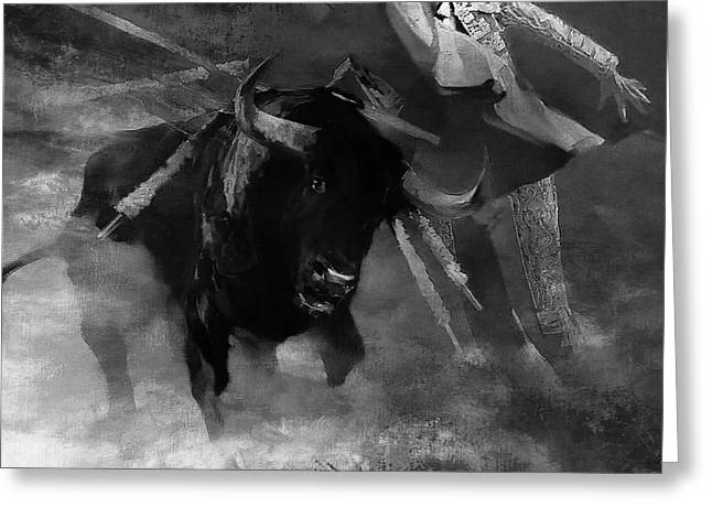 Bull Fighting 09h Greeting Card by Gull G