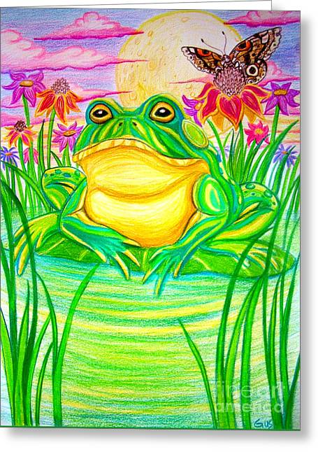 Bull Frog And The Moon Greeting Card by Nick Gustafson