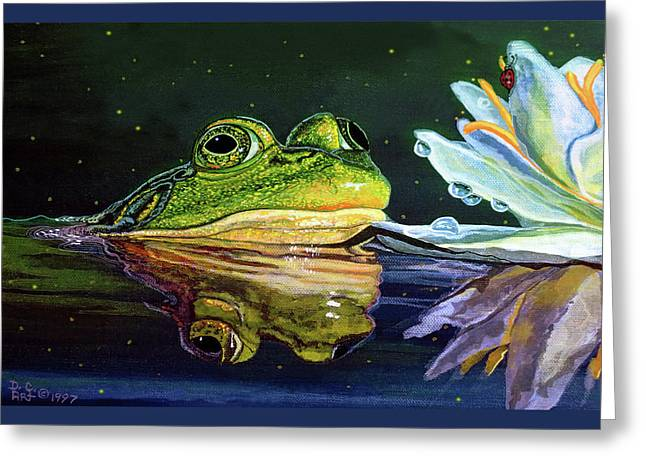 Bull Frog Card Greeting Card by Debbie Chamberlin