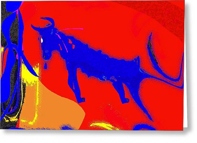 Bull Meets Matador Greeting Card by Mimo Krouzian