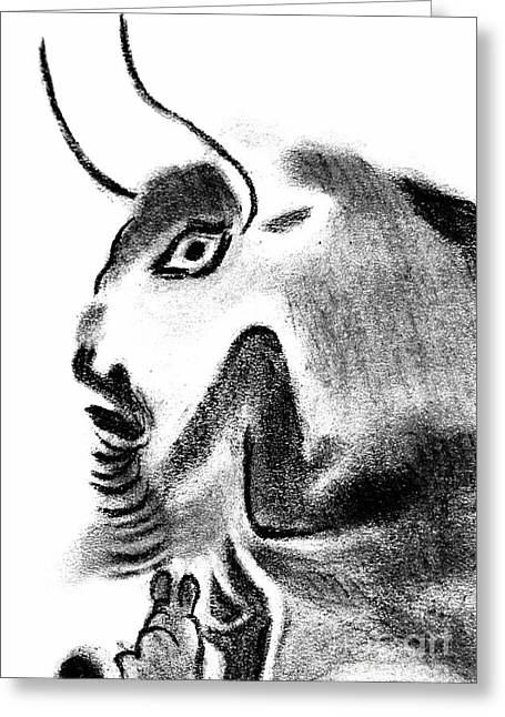 Rocks Drawings Greeting Cards - Bull Greeting Card by Michal Boubin