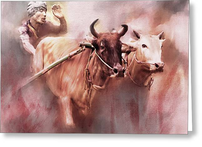 Bull Race 01 Greeting Card by Gull G