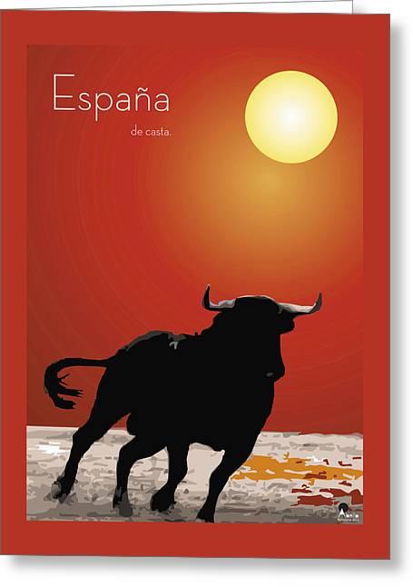 Spanish Bull Run Greeting Card by Quim Abella