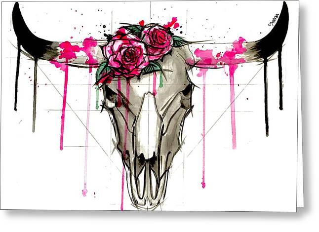 Bull Skull Greeting Card by Mina Fordyce