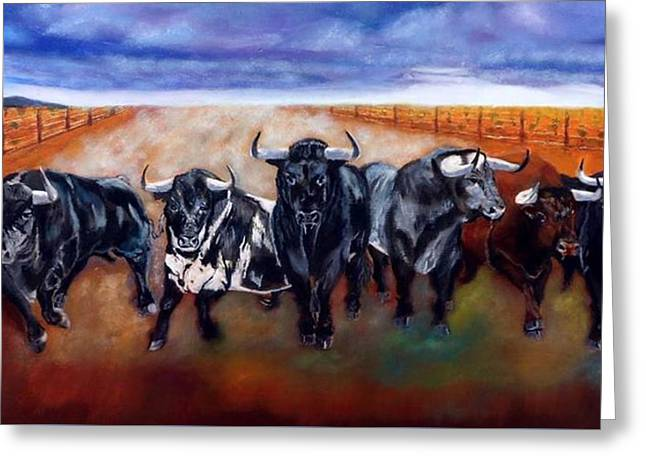 Bull Stampede Greeting Card