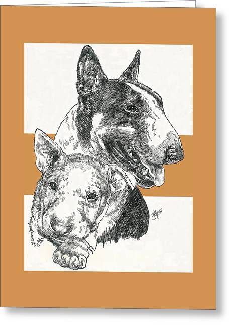 Bull Terrier And Pup Greeting Card