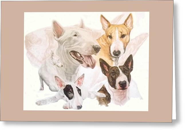 Bull Terrier W/ghost Greeting Card