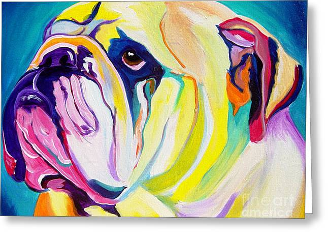 Bright Paintings Greeting Cards - Bulldog - Bully Greeting Card by Alicia VanNoy Call