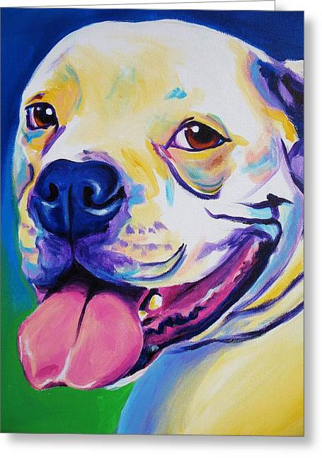 Alicia Vannoy Call Paintings Greeting Cards - American Bulldog - Luke Greeting Card by Alicia VanNoy Call
