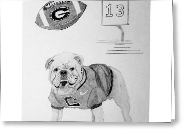 Bulldog Collage Greeting Card by Dale Ballenger