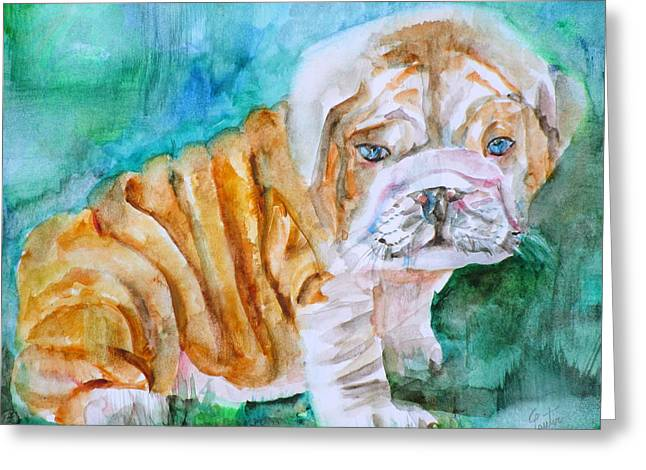 Greeting Card featuring the painting Bulldog Cub  - Watercolor Portrait by Fabrizio Cassetta