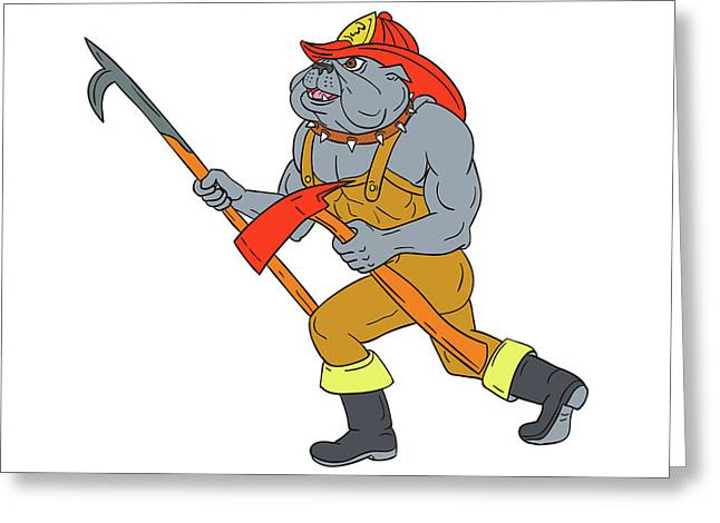 Bulldog Firefighter Pike Pole Fire Axe Drawing Greeting Card