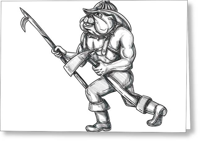 Bulldog Firefighter Pike Pole Fire Axe Tattoo Greeting Card