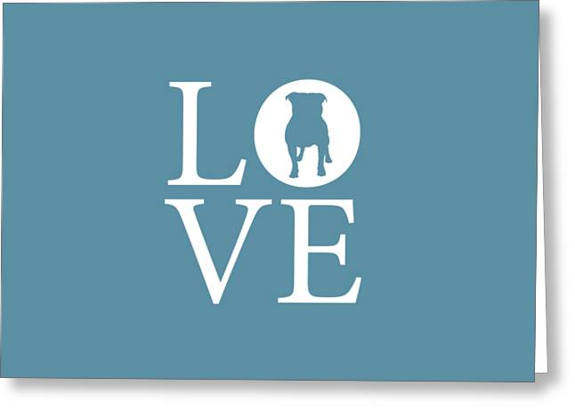 Bulldog Love Greeting Card by Nancy Ingersoll