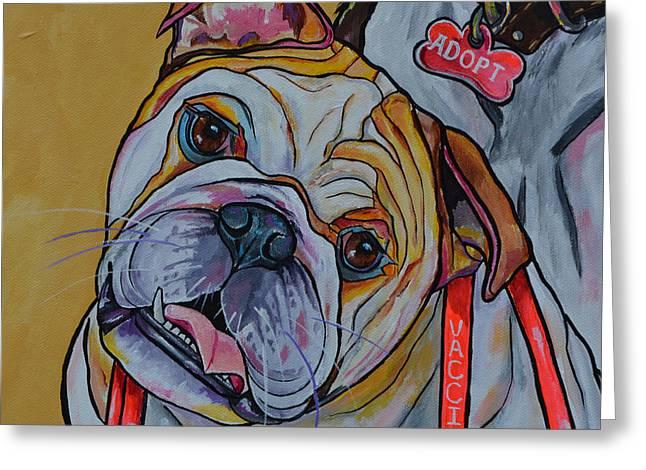 Greeting Card featuring the painting Bulldog by Patti Schermerhorn