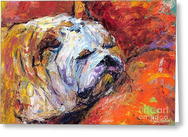Bulldog Portrait Painting Impasto Greeting Card by Svetlana Novikova