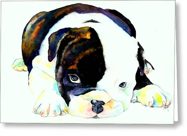 Bulldog Puppy Greeting Card