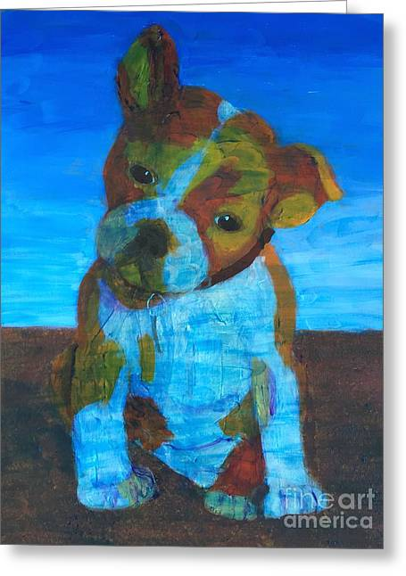 Greeting Card featuring the painting Bulldog Puppy by Donald J Ryker III