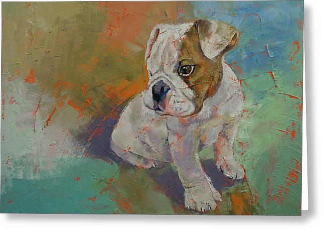 Bulldog Puppy Greeting Card by Michael Creese