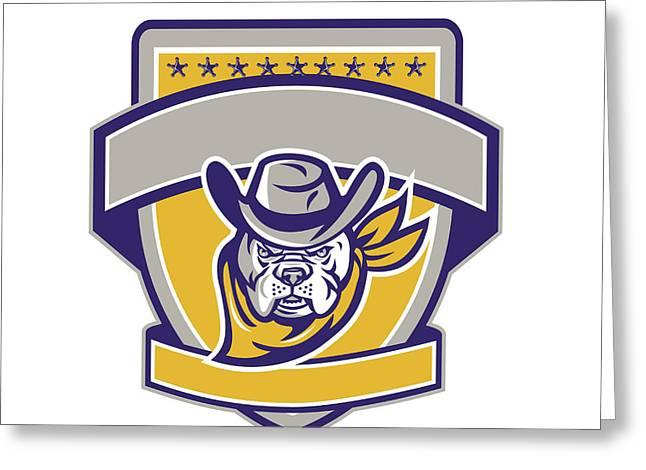 Bulldog Sheriff Cowboy Head Shield Retro Greeting Card