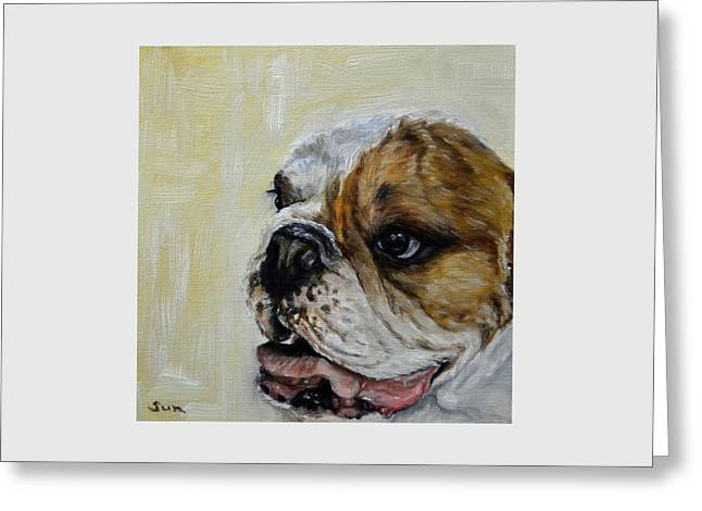 Bulldog  Greeting Card by Sun Sohovich