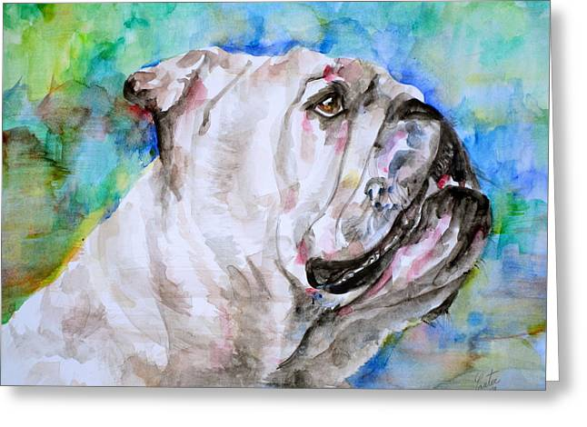 Greeting Card featuring the painting Bulldog - Watercolor Portrait.4 by Fabrizio Cassetta