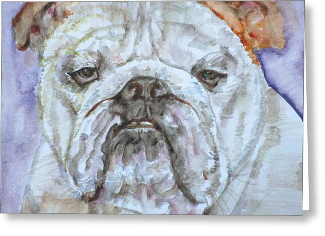 Greeting Card featuring the painting Bulldog - Watercolor Portrait.5 by Fabrizio Cassetta
