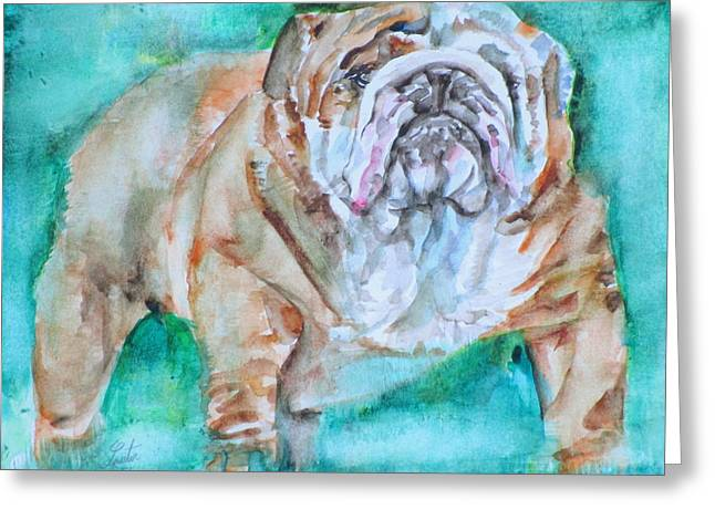 Greeting Card featuring the painting Bulldog - Watercolor Portrait.6 by Fabrizio Cassetta