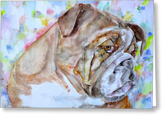 Greeting Card featuring the painting Bulldog - Watercolor Portrait.7 by Fabrizio Cassetta