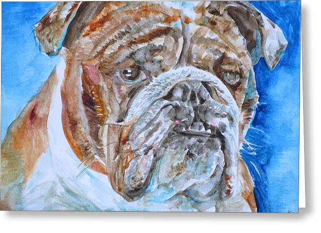 Greeting Card featuring the painting Bulldog - Watercolor Portrait.8 by Fabrizio Cassetta