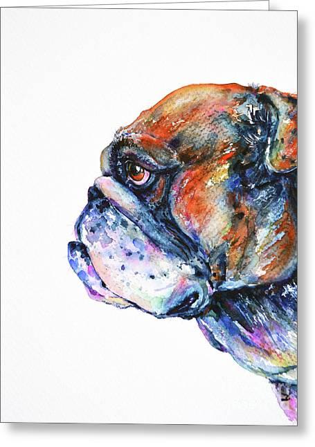 Greeting Card featuring the painting Bulldog by Zaira Dzhaubaeva