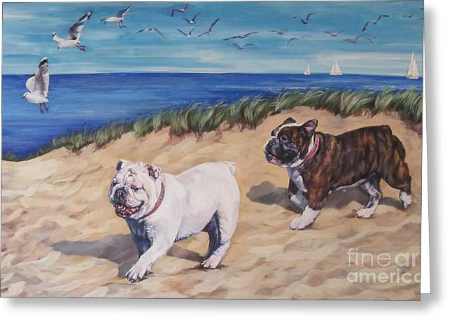 Bulldogs On The Beach Greeting Card by Lee Ann Shepard