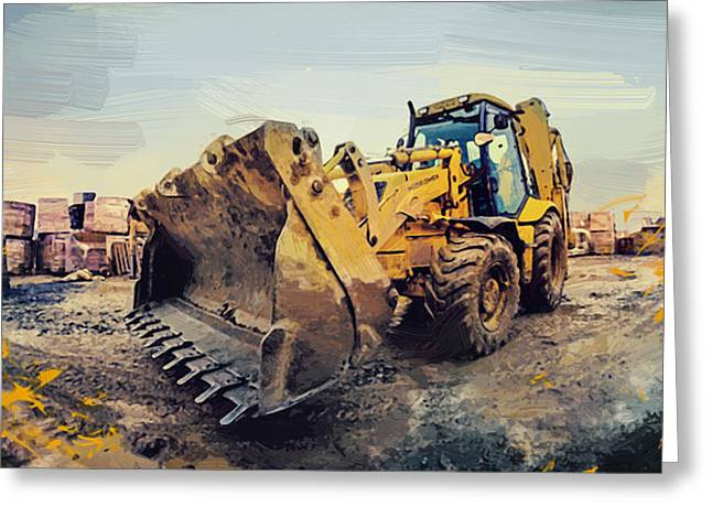 Bulldozer Greeting Card by Afterdarkness
