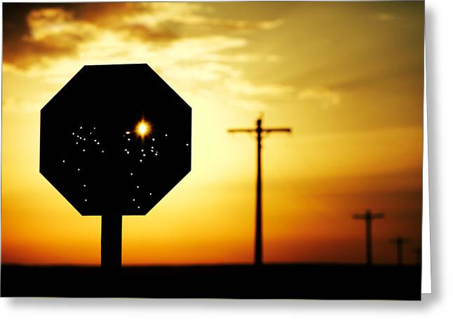 Bullet-riddled Stop Sign Greeting Card by Todd Klassy