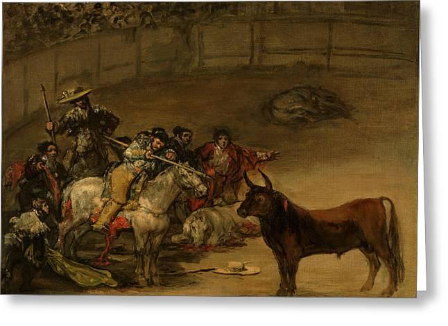 Bullfight, Suerte De Varas Greeting Card by Francisco Goya