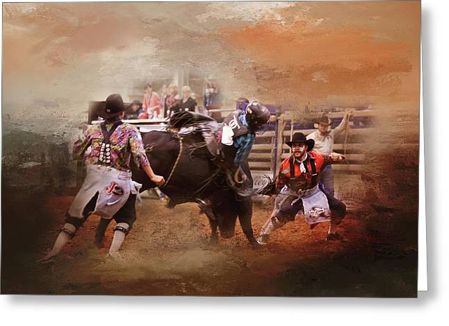 Bullfighters In Action Greeting Card